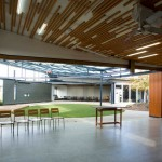 Courtyard linking drama and chapel spaces
